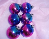 Vintage SHINY BRITE Rainbow  Glass Tree Ornaments Set of 6
