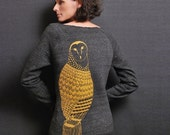 Black Fall Sweatshirt Eco Fleece Gold Owl Feather Screenprint Woodland