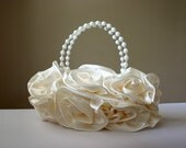 Buy 1 Get 1 - Roses Satin Evening Bag Handbag in Soft Cream