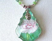 Eliza, a pink and green crystal pendant necklace