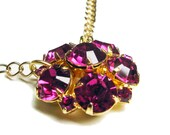 HOLIDAY SUPER SALE Rhinestone Hot Pink Raspberry Purple Gold Necklace
