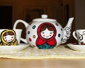 matryoshka russian nesting doll hand painted porcelain TEA SET