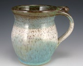 Mug 16 oz Handmade Pottery Mug with a Thumbrest -  WOW What colors - What a beautiful Combination of Whites Greens and Blues - Perfect for MoM