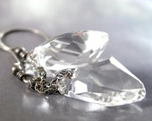 CRYSTAL ICE Earrings, Clear Swarovski Crystal, Oxidized Sterling Silver