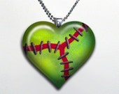 Frankenstein Zombie Heart Glass Pendant Necklace 69-H