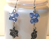 My Swarovski Crystal Lt Sapphire Silver Snowflake Earrings Year End Blowout