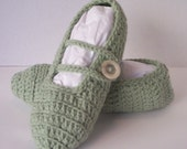 Women's Crochet Mary Jane Slippers--Frosty Green