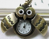 owl Pocket Watch locket Necklace