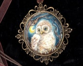 BABY OWL..original painting necklace.... Handpainted Vintage Style Frame ......