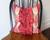 Coral Ikat ruffle - 16x16inch decorative pillow cover - insert included