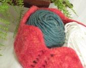 Felted Herringbone Bowl - Hot Pink