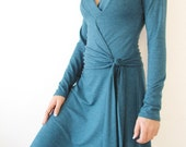 Teal Wrap Dress with a Detailed Neckline