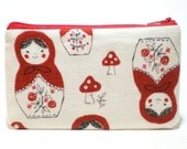 Red Matryoshka and Mushrooms Zipper Pouch