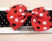 Red Pinwheel Bow on Crochet Headband Free Shipping