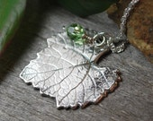 Fine Silver Grapevine Leaf Pendant PMC Sterling Necklace Swarovski Crystal Artisan