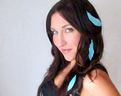 Hair Feather Extensions Peek A Boo - Blue Pink Green Orange White Red