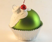 Mini Lime Green Glass Cupcake Ornament with Glittered White Frosting and a Cherry on top
