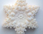 3 bars - Winter Holiday Snowflake Soap ...  Peppermint - Cinnamon - Vanilla twist scent .  Beautiful detail.  Priority shipping