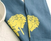 Dish Towel- Dark Blue Linen with Yellow Dahlia Flower (Set of 2). Screen Printed Kitchen Accessories from Curry Kay Designs on Etsy