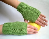 Olive Green Knitted Mittens,Fingerless Gloves, Holidays Christmas Gift under 25 Gift for her