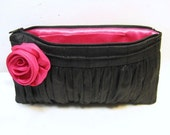Clutch Pin Tuck - Dupioni Silk in Black-Fuchsia- OTHER COLOR COMBINATIONS  AVAILABLE