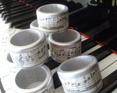 Music napkin rings, set of 8, in black, silver or NEW shabby chic cream color
