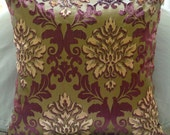 Antique Damask - Throw Pillow Covers - 16x16 Inches Velvet Burnout Pillow Cover