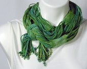 The Soba Scarf in Lime and Tropical Blue