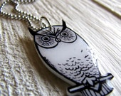 Retro Black and White Owl Necklace