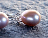 simple freshwater pearl earrings on sterling silver -  mauve, slightly baroque