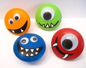 MONSTERS wooden handpainted knobs 2 inch SET of four