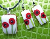Hot  Poppy Earrings-Fused Glass Jewelry Handmade in North Carolina