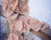 "Rose Pink & Cream Ruffle Lace Feminine Flower Neck Scarf ""Pinwheel Blossom"" - Lightweight for spring"