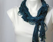 The Beaded Soba Scarf in Cobalt, Jade, and Straw