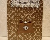 15% SALE Vintage Chic Personalised Card / Chocolate Clutch Bag / Handmade Greeting Card