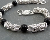 Sterling Silver Byzantine Chain Maille Bracelet with Black Onyx