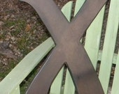 "Custom wooden letter ""X"" painted chocolate brown wood 24 inches tall Font Style 6"