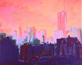 My View, April 2001 (An Original Cityscape Painting on Canvas) 36 x 40 inches framed