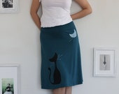 Teal Blue Knee Length Skirt with screen printing and sewing-Our cat and the moon-size Large