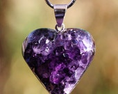 Dark Purple Beautiful Brazilian Hand Carved Amethyst Druzy Heart Pendant Inv. 120