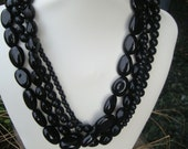 Refashioned Sophisticated Multi-Strand Black Bead Convertible Choker Necklace