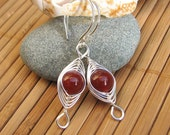 Red Dragon Viens Agate Herringbone Sterling Silver Earrings