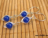 Royal Blue Jade  Herringbone Sterling Silver Earrings