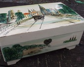 Painted Wood Musical Jewelry Box