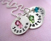 THREE TINY Brags with Birth Stones -  Hand Stamped Sterling Silver Personalized Name Necklace