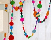 2 felt garlands super bright circles totalling 24 feet
