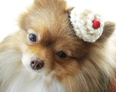 SWEET TREAT hand knit chocolate cupcake topped w/ vanilla icing & a red cherry- versatile hairclip or collar tie