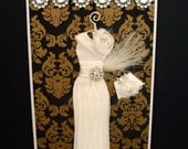 RESERVED listing for Trish Suzie Personalised Art Deco Dress Card / Handmade Greeting Card