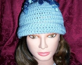 35% OFF with code FEATURED.....LightBlue w/ Swirlies on Top Crochet Hat