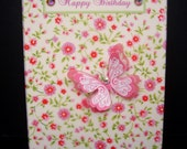 Butterfly and Flowers Personalised Card / Handmade Greeting Card